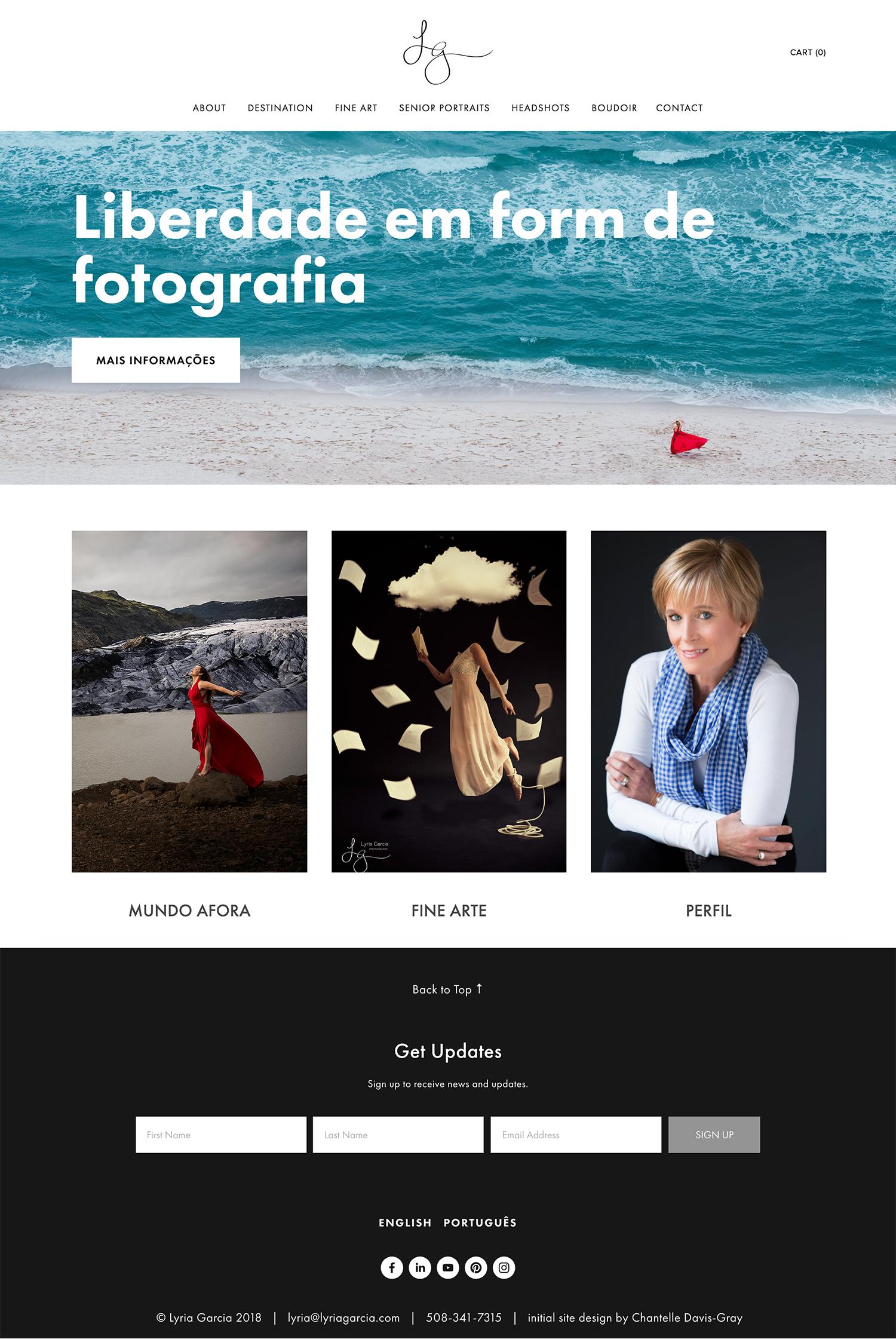 Lyria Garcia photography new bilingual website on squarespace