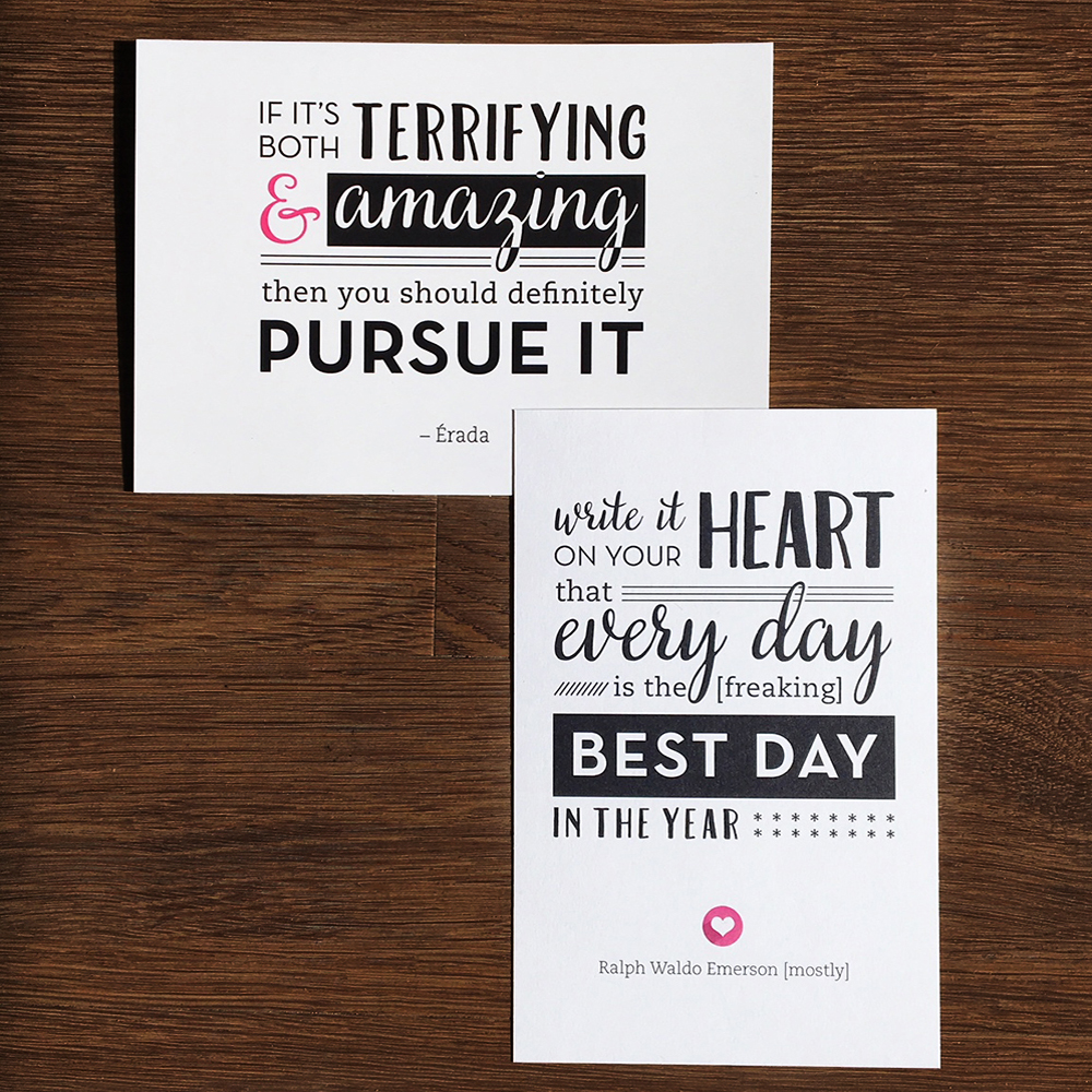 Quotes on postcards graphic design