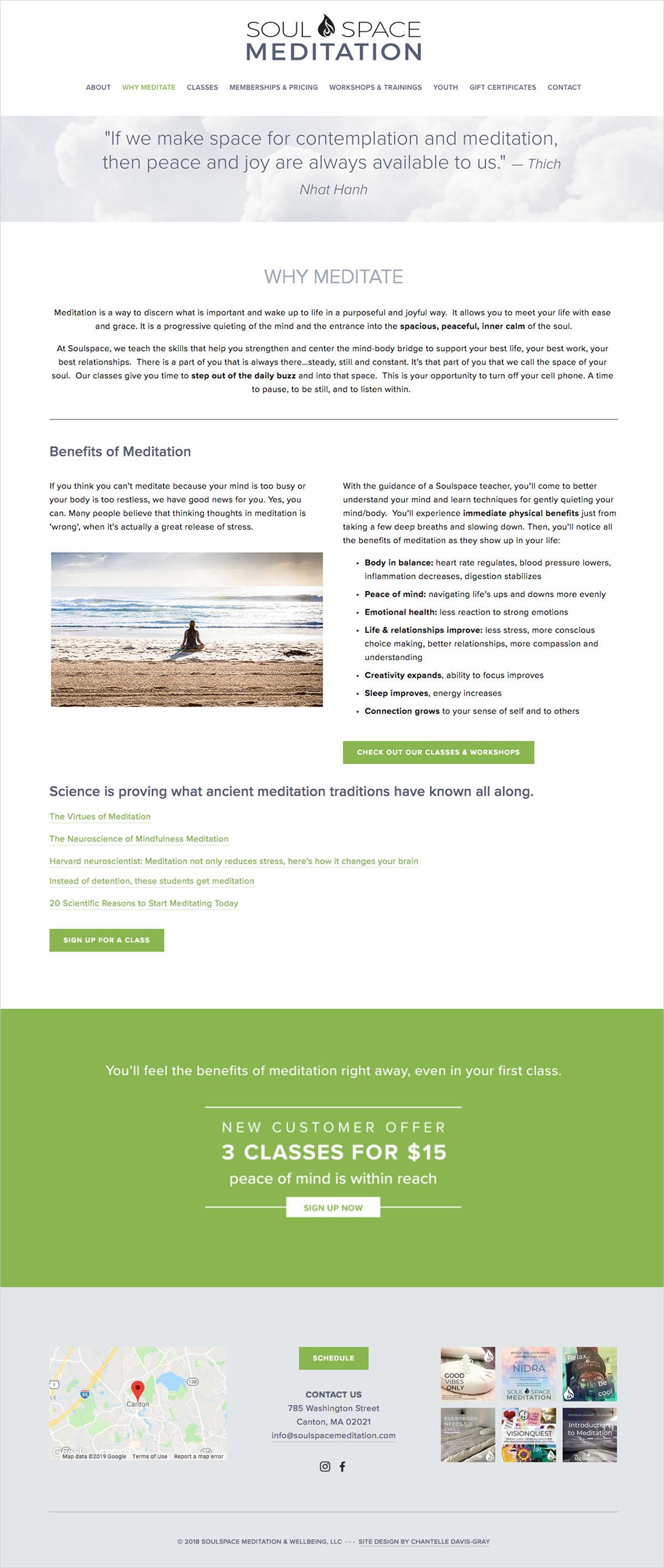 Meditation website design on Squarespace