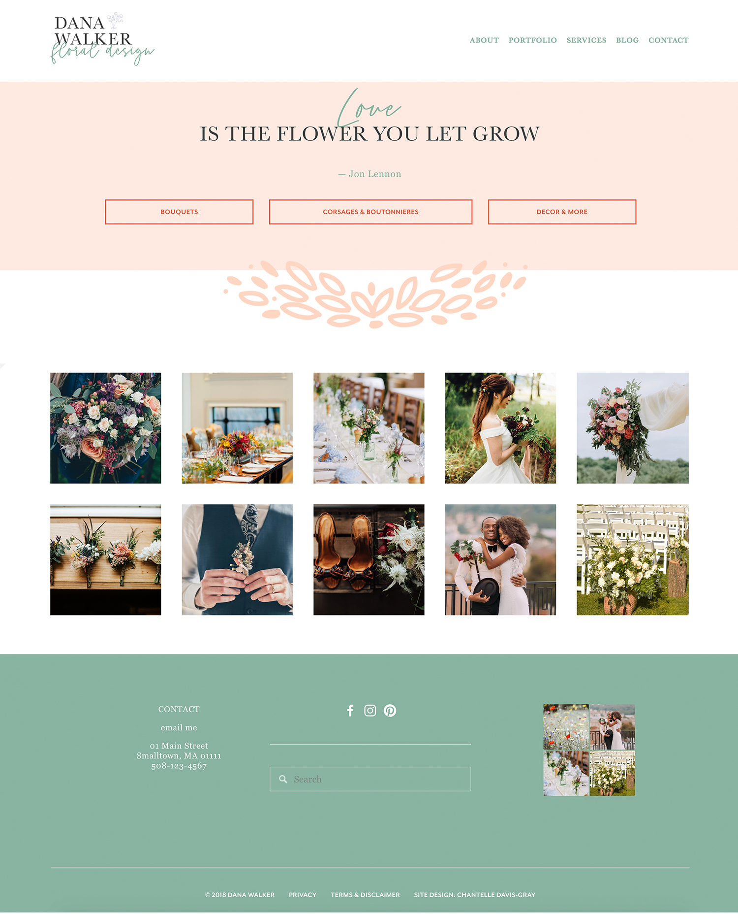 floral designer website and brand design