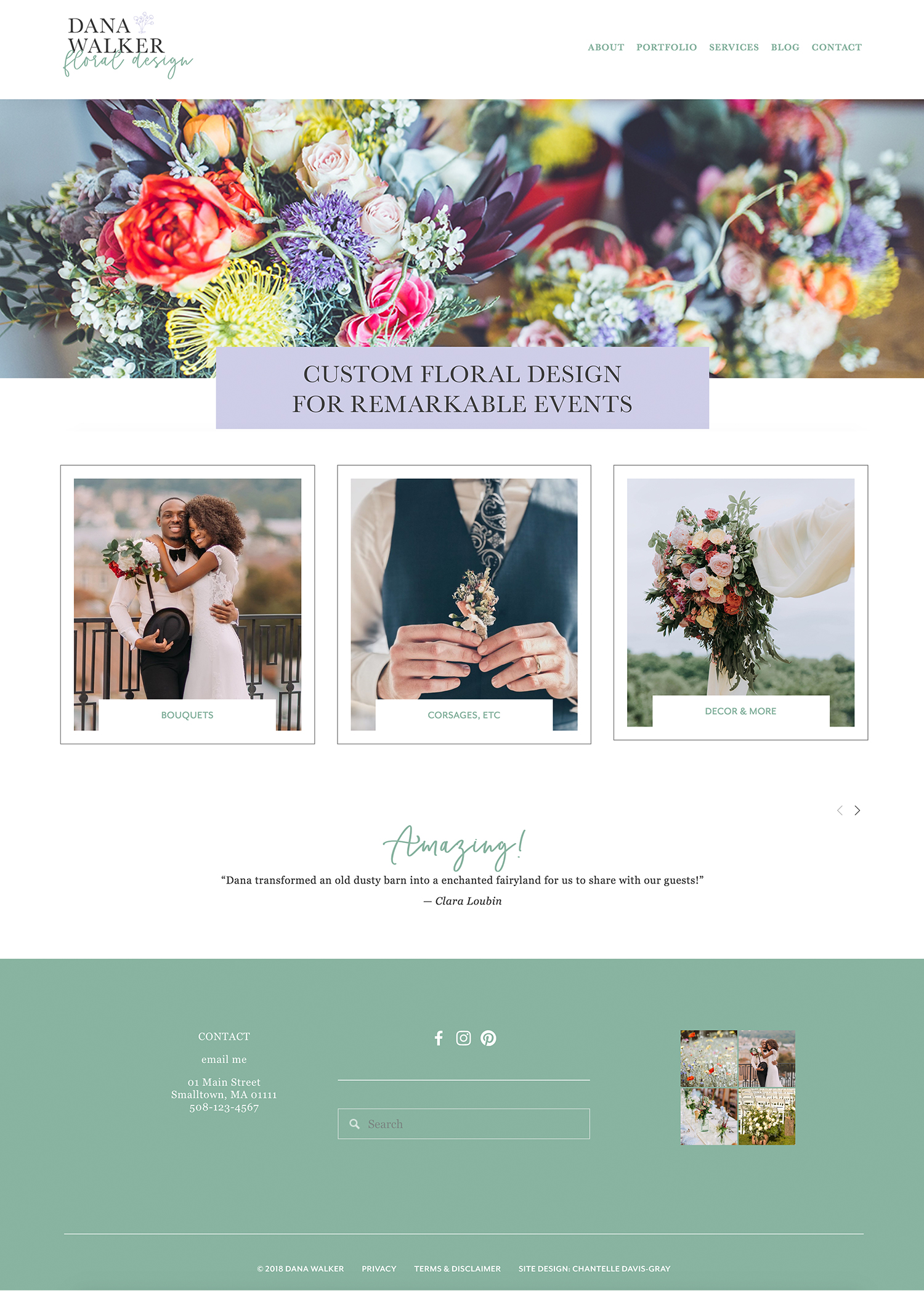 Wedding florist website on Squarespace