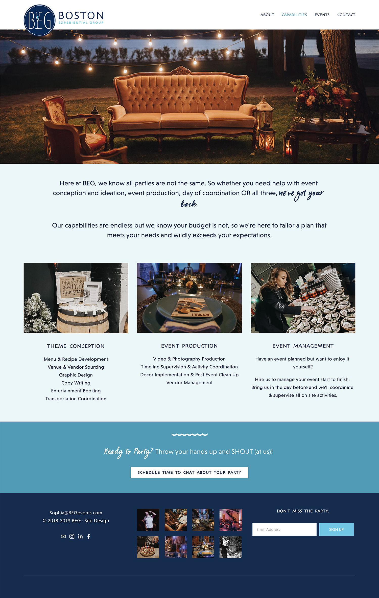 Squarespace website for event planner