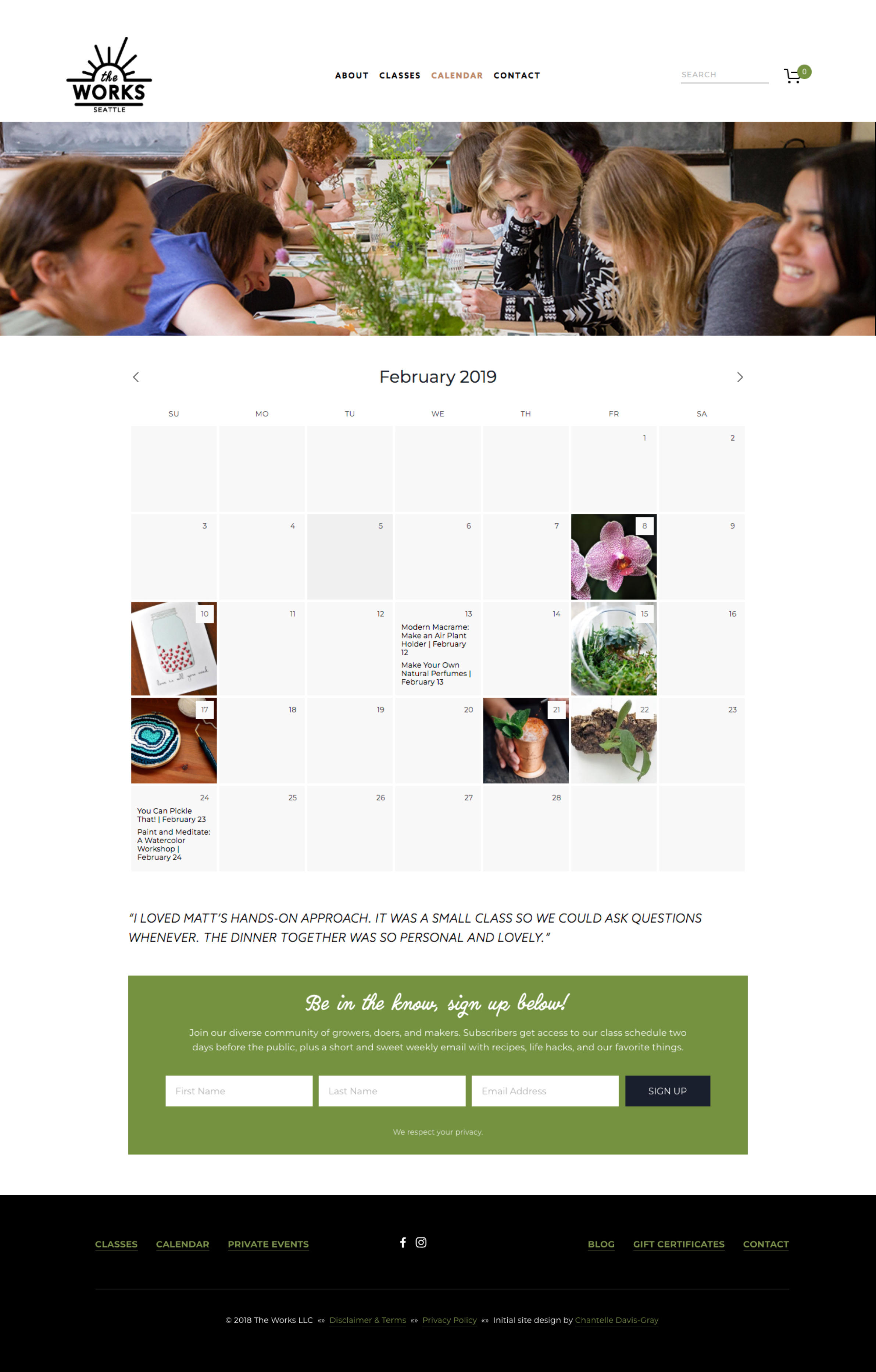 Events, classes & workshops website on Squarespace