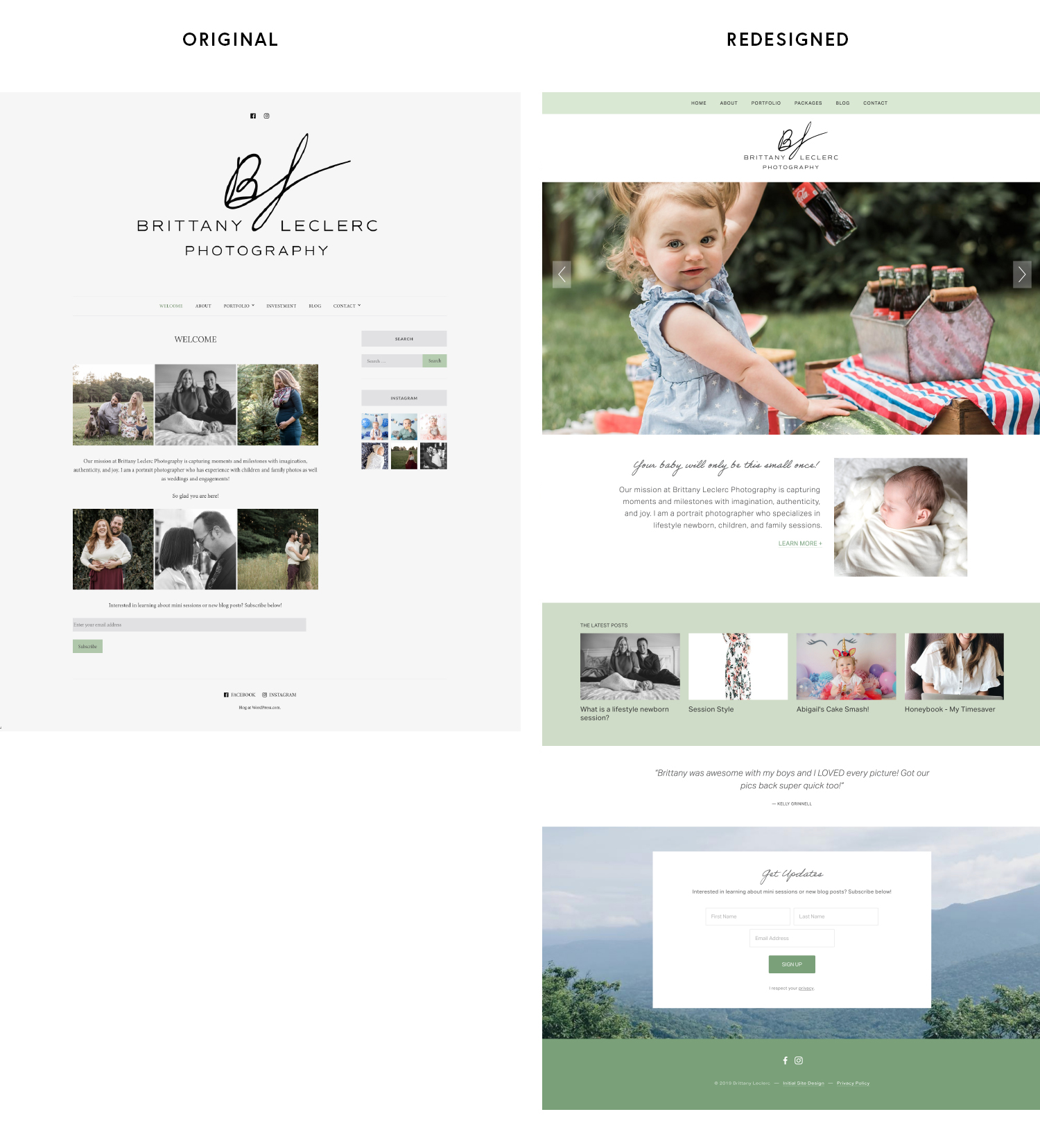 Photographer website migrated from Wordpress to Squarespace