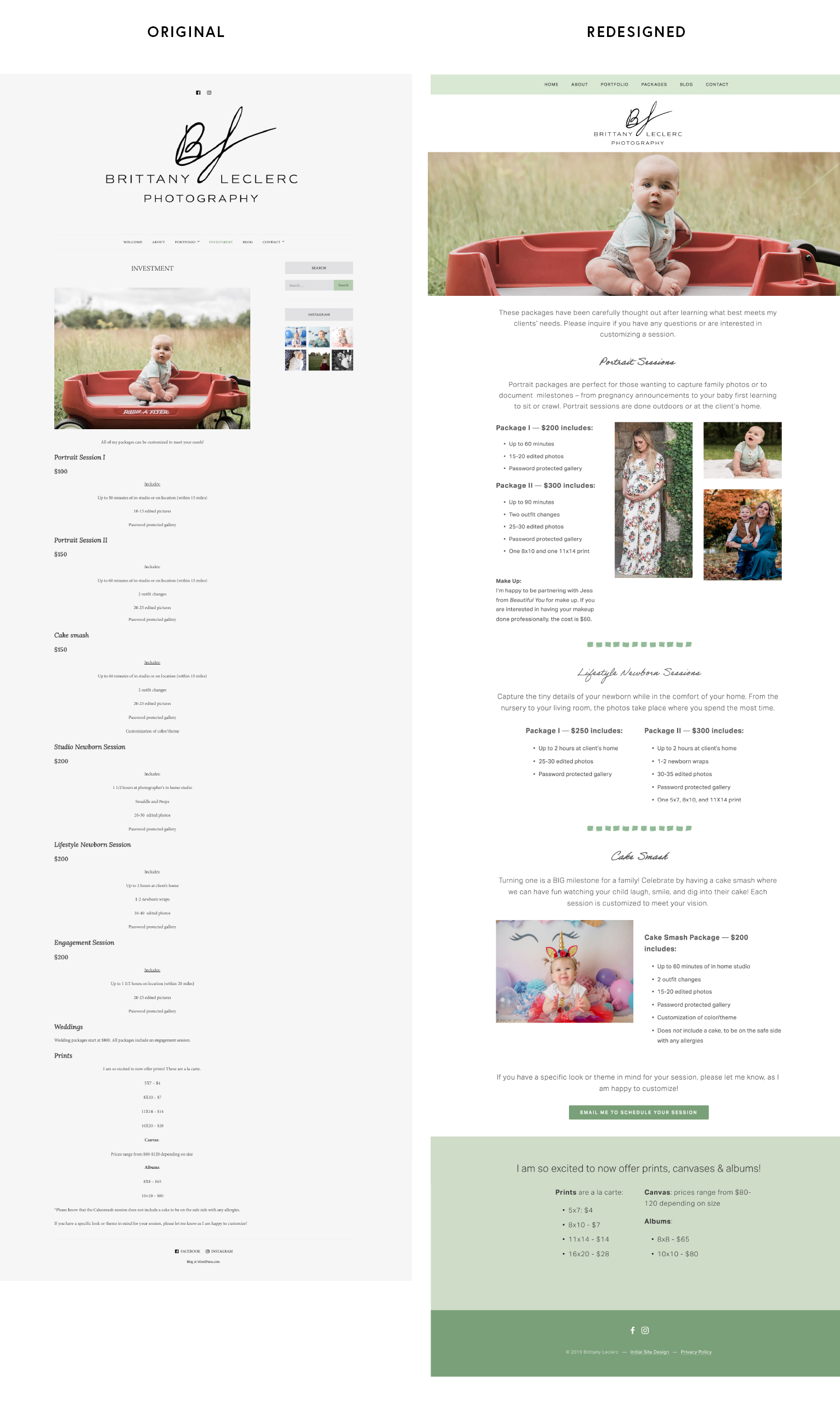 Before & After of a Rhode Island photographer's squarespace website
