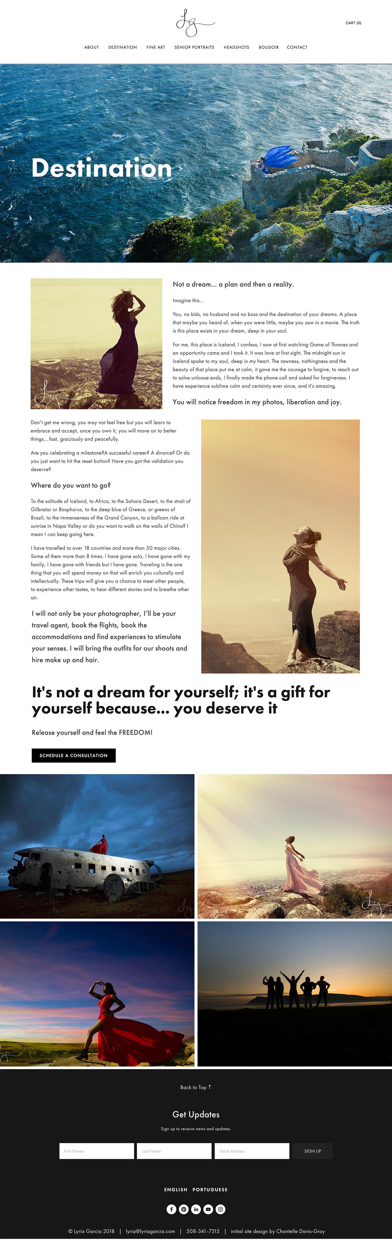 Photographer website designed on Squarespace