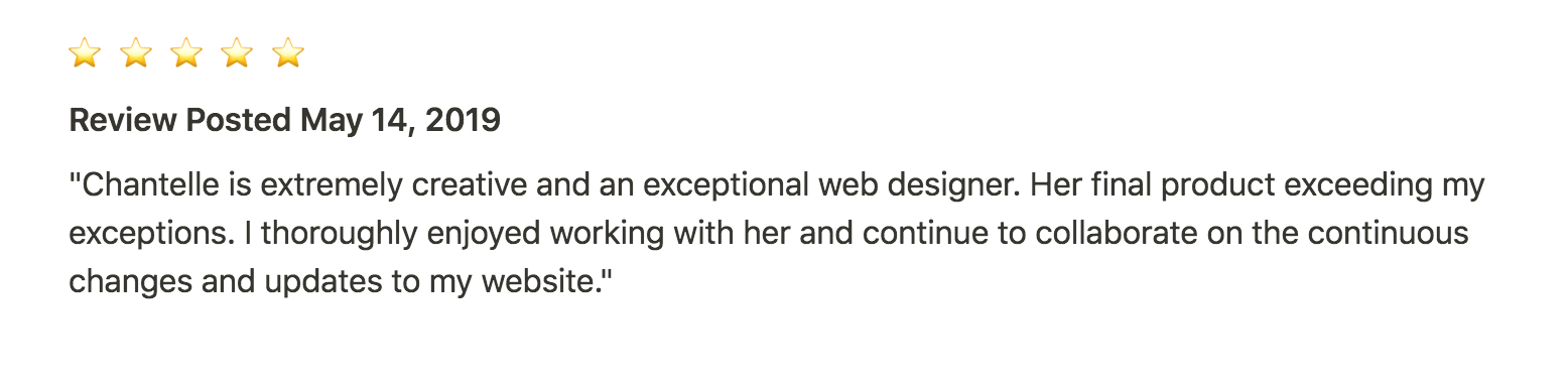 Testimonial from labor doula about her Squarespace website