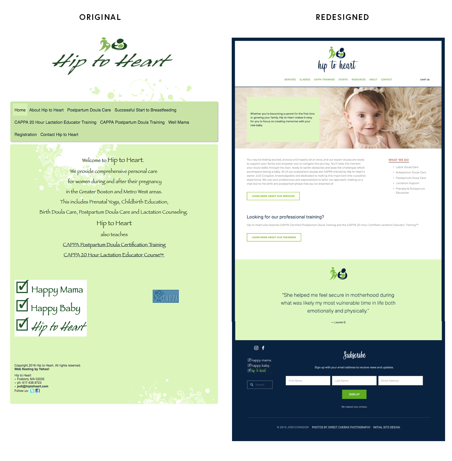 Labor and postpartum doula website design