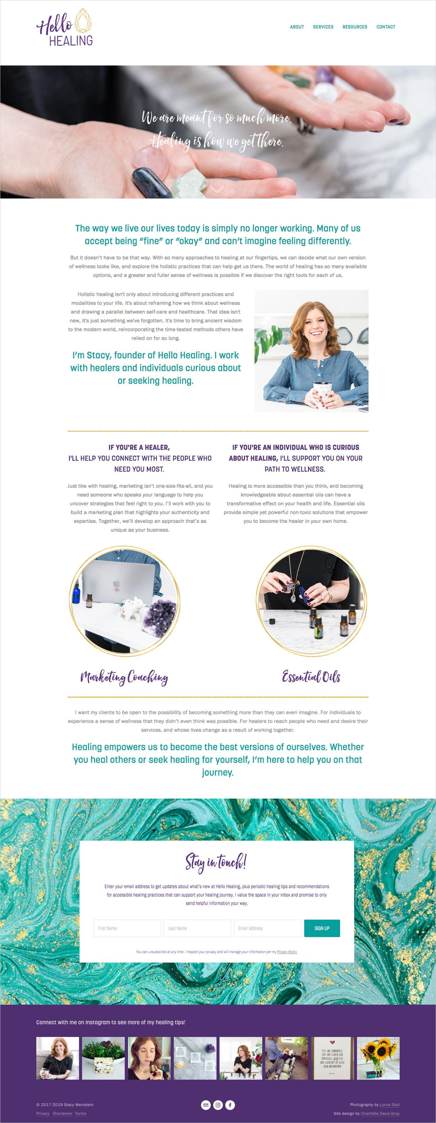 Essential oils and holistic health squarespace website and branding