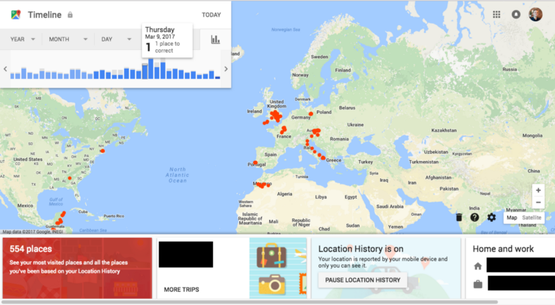 My Google Timeline — Yeah, I remember that drive down through Italy