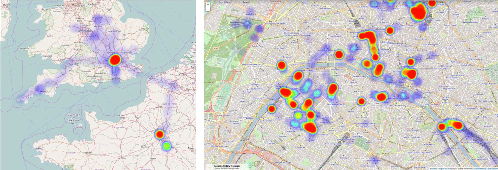 The heat map adjusts itself to the zoom factor. So many trips to Paris…