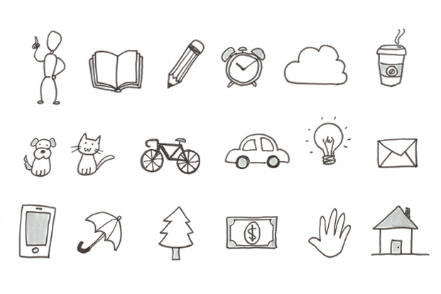 Examples of simple drawings ideal for use on ideation Post-its. Credit:  jetpens.com
