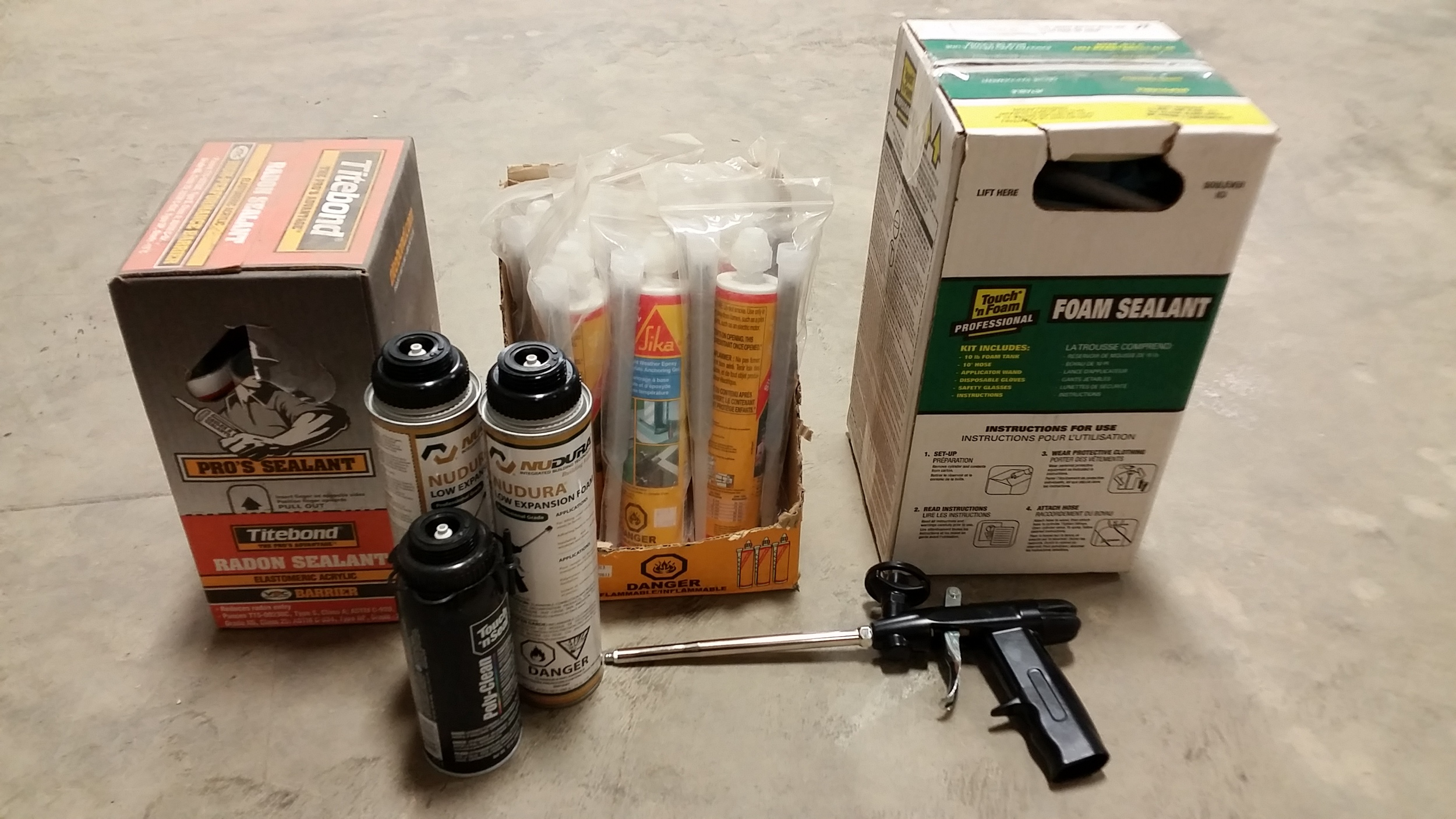 Various Foam Adhesives, EPS-Safe Caulkings, and Specialty Concrete Products (Contact our office to special order items)