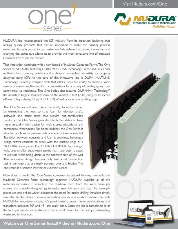 Download the NUDURA One-Series Brochure