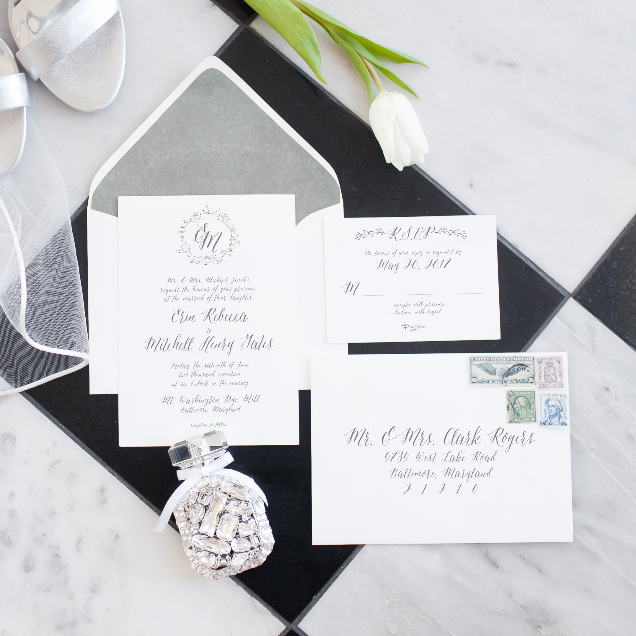 ViriLovelyDesignsWeddingInvitationBlackandWhite
