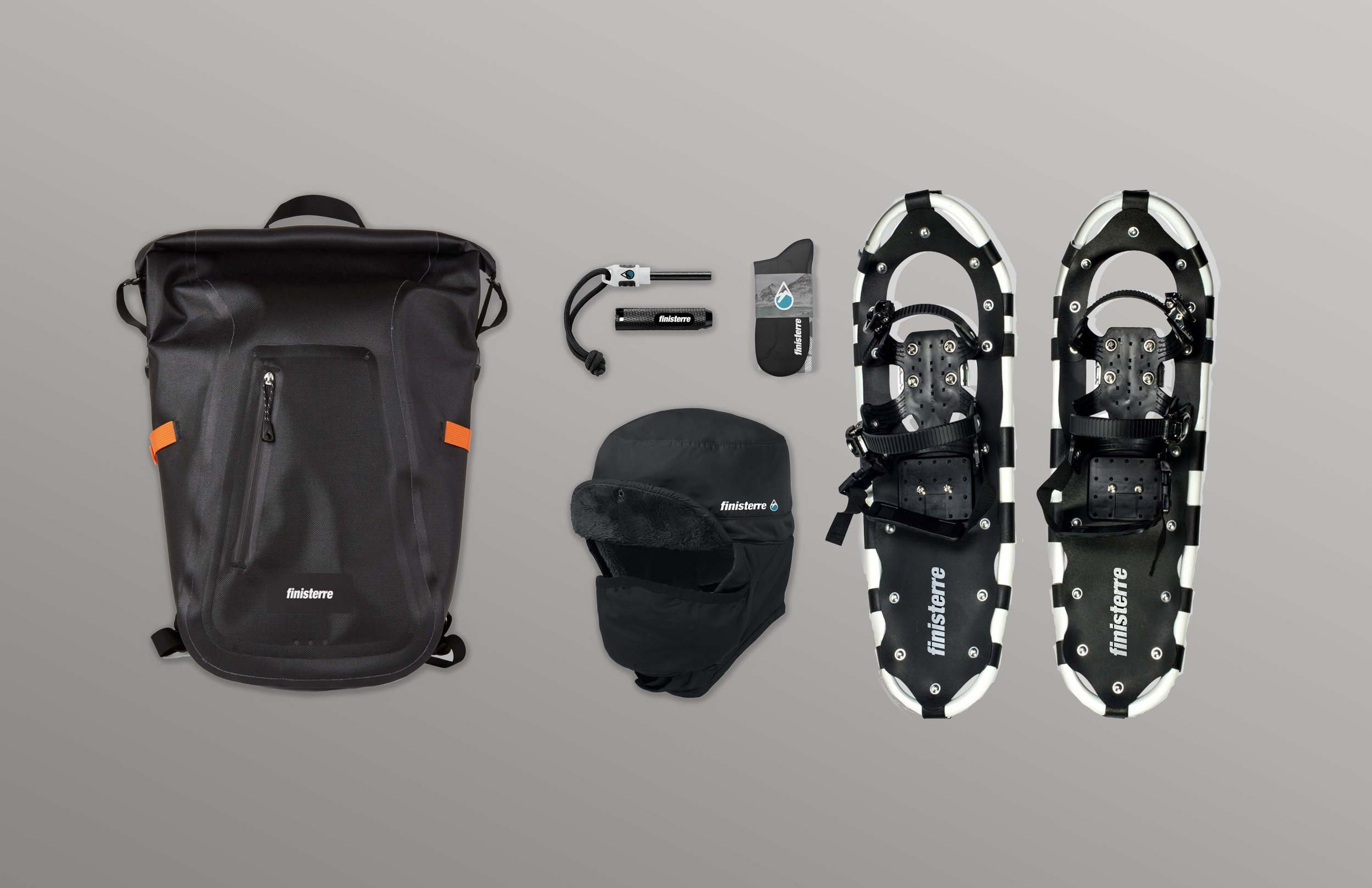 From L to R: Waterproof pack, fire starter, waterproof thermal socks, snowshoes, and snow hat with face mask attachment.