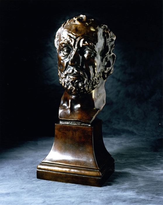 """Auguste Rodin,  Mask of the Man with the Broken Nose , one piece mask and bronze base, 18 1/4"""" x 7 3/8"""" x 6 1/2"""", Executed: 1863-64; cast: Musée Rodin 12/12, 1979. Collection Iris Cantor."""