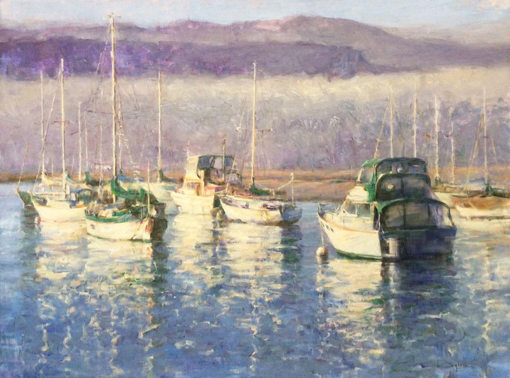 """Sylvia Trybek,  Boats , oil, 36"""" x 48"""""""
