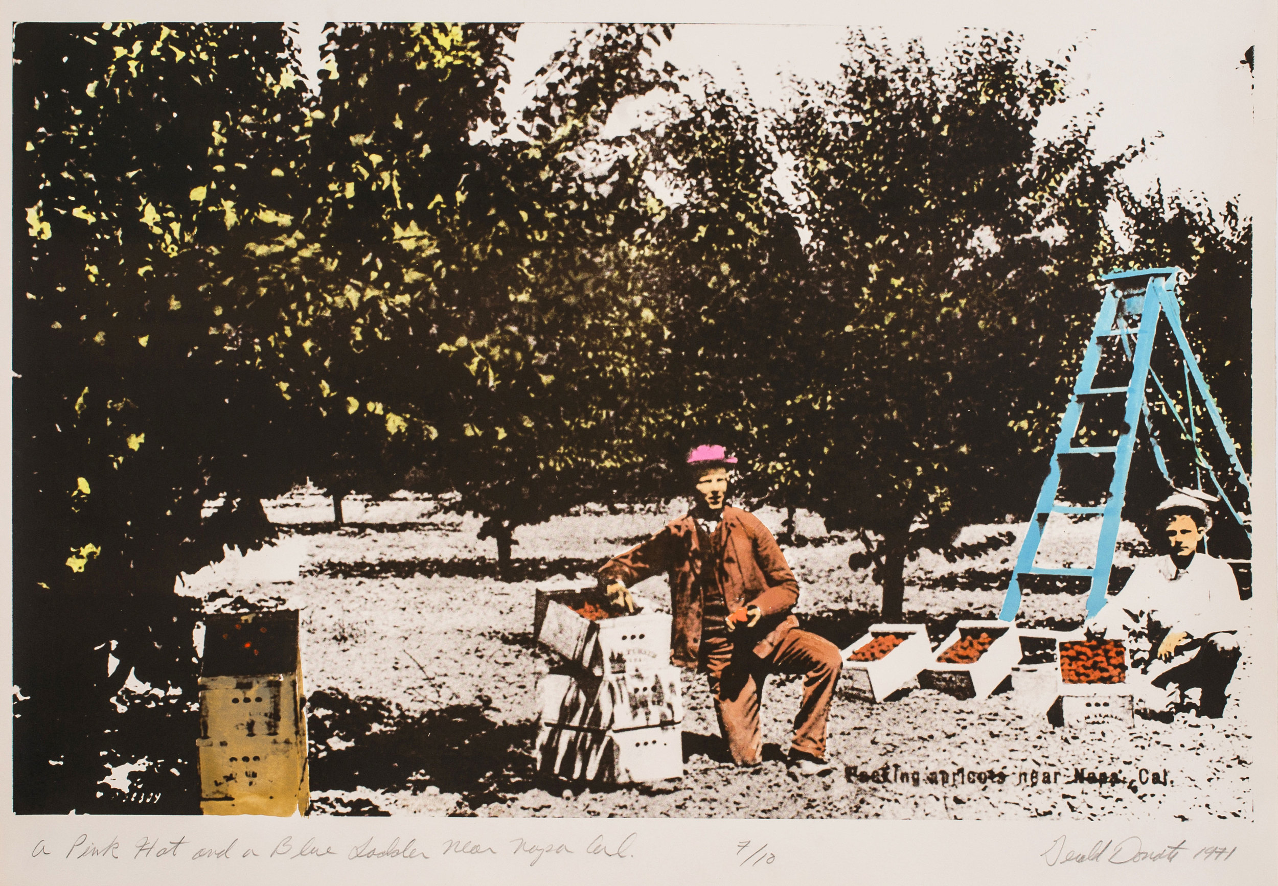 """Gerald Donato,  A Pink Hat and Blue Ladder Near Napa, Cal. , 1971, photo-lithograph, 22 1/4"""" x 29 3/4"""""""