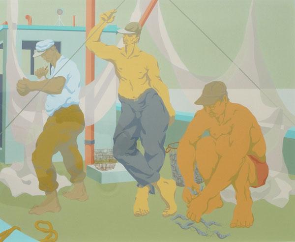 Claude Howell,  Three Men on a Shrimper , serigraph