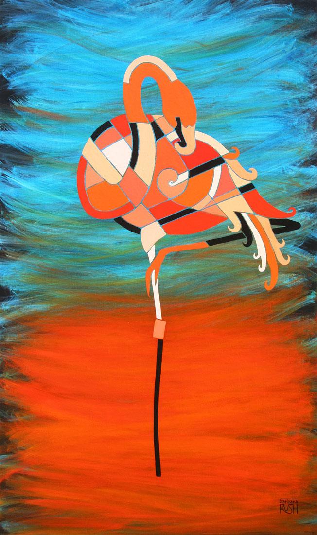 "Barbara Rush, An Elegant Flamingo, acrylic on canvas, 36"" x 48"""