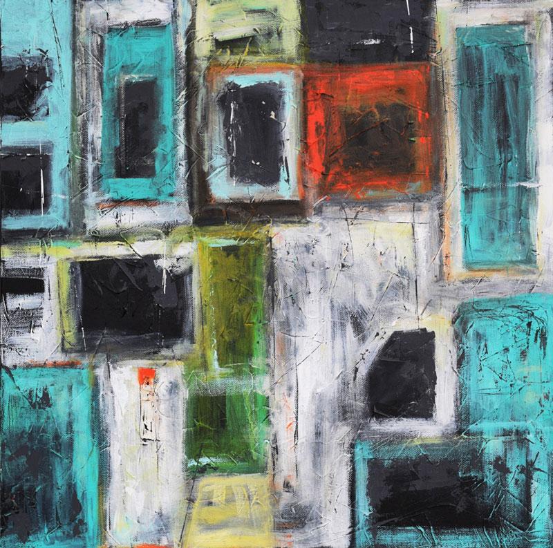 "Shanon Schneider, Windows to the City, mixed media,20"" x 20"""