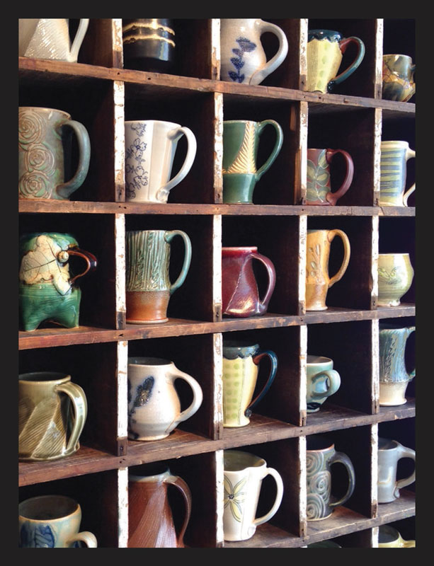 A selection of handmade mugs from local & regional potters in our mug cubby (Lark & Key Gallery)