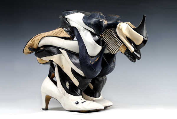 "Willie Cole (American, b. 1955) Untitled (Chicken), 1995, Women's shoes adn galvanized wire, 14 3/4""x 22 7/8""x 9 7/8:"