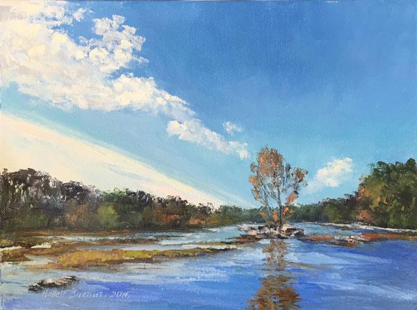 "Linda Hollett-Bazouzi,  Rappanhannock River, October , 2016, 9""x12"""