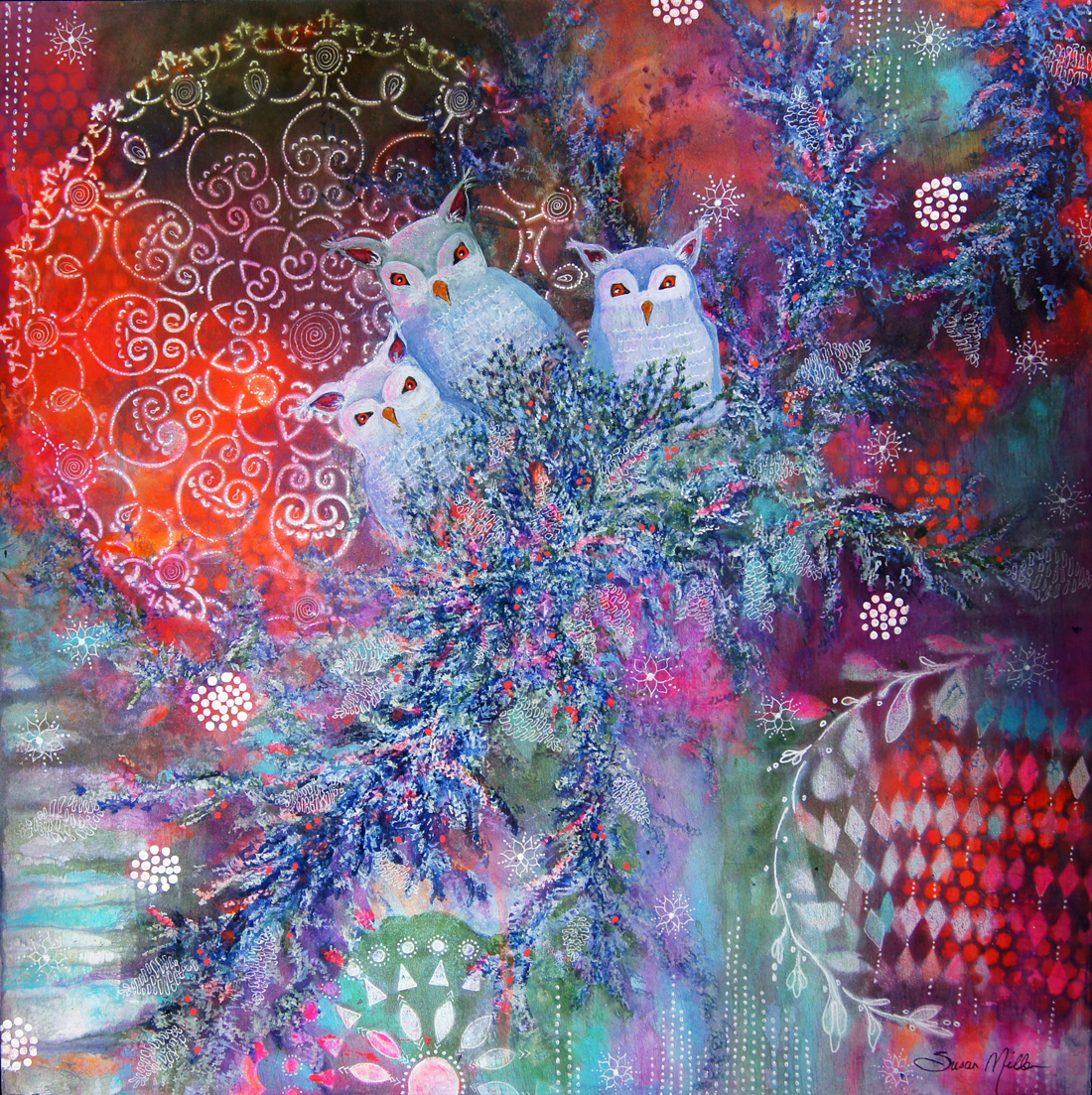 Susan Miller - Image: Seeing in the DarkSusan is a mixed media artist, expressive arts therapist, creativity coach, and artist muse who is passionate about combining art and healing. She uses an intuitive painting layering process which uses the power of color, nature and symbolic images to create paintings full of whimsy, magic, and joy.