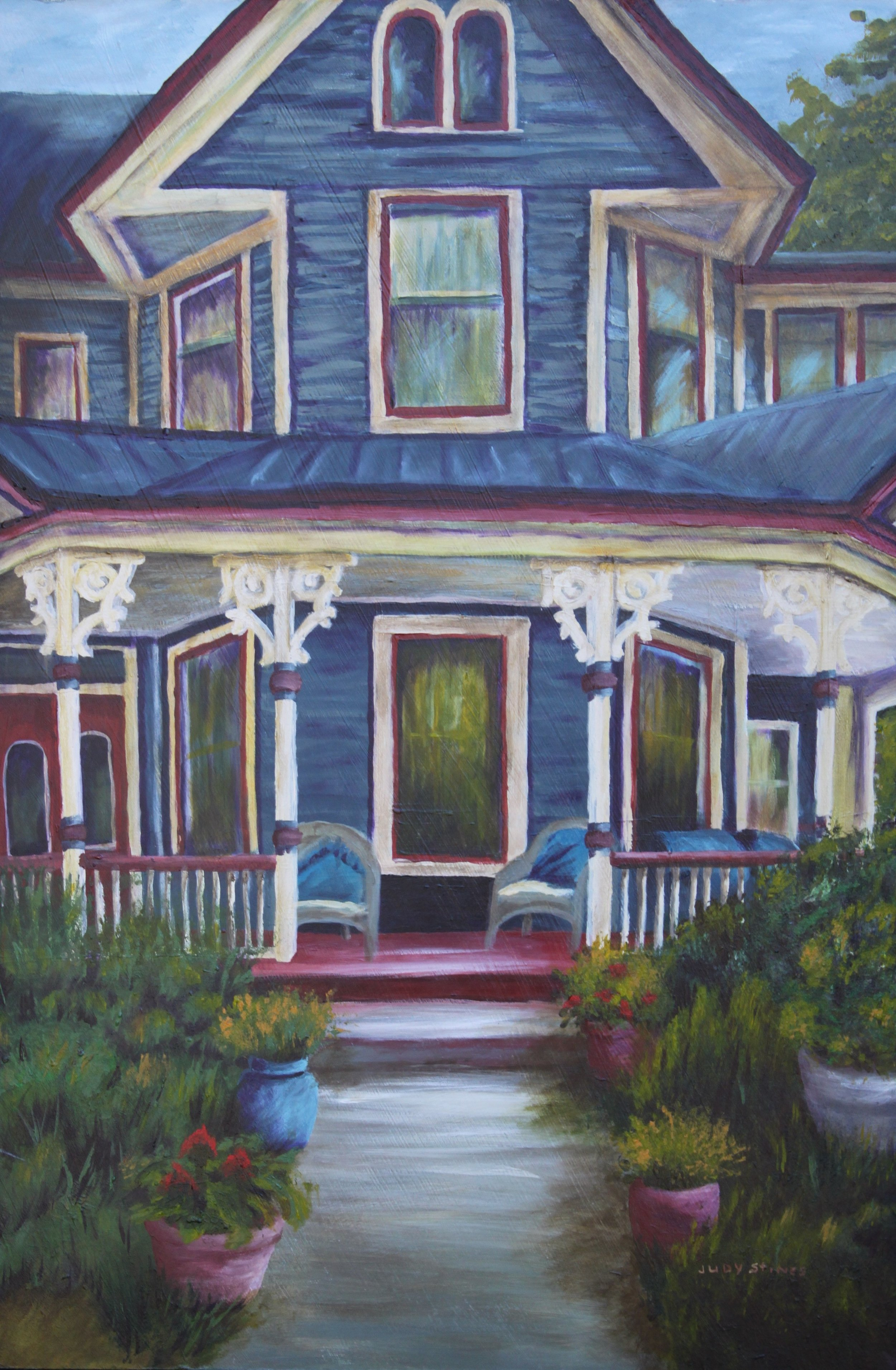 Judy Stines - Image: Historic Wake ForestJudy works in soft pastel, oil pastel and acrylic. She loves combining texture and motion with the layering of color to become one with her art. Her palette is drawn from the colors of her adventures which are the inspirations for her art.