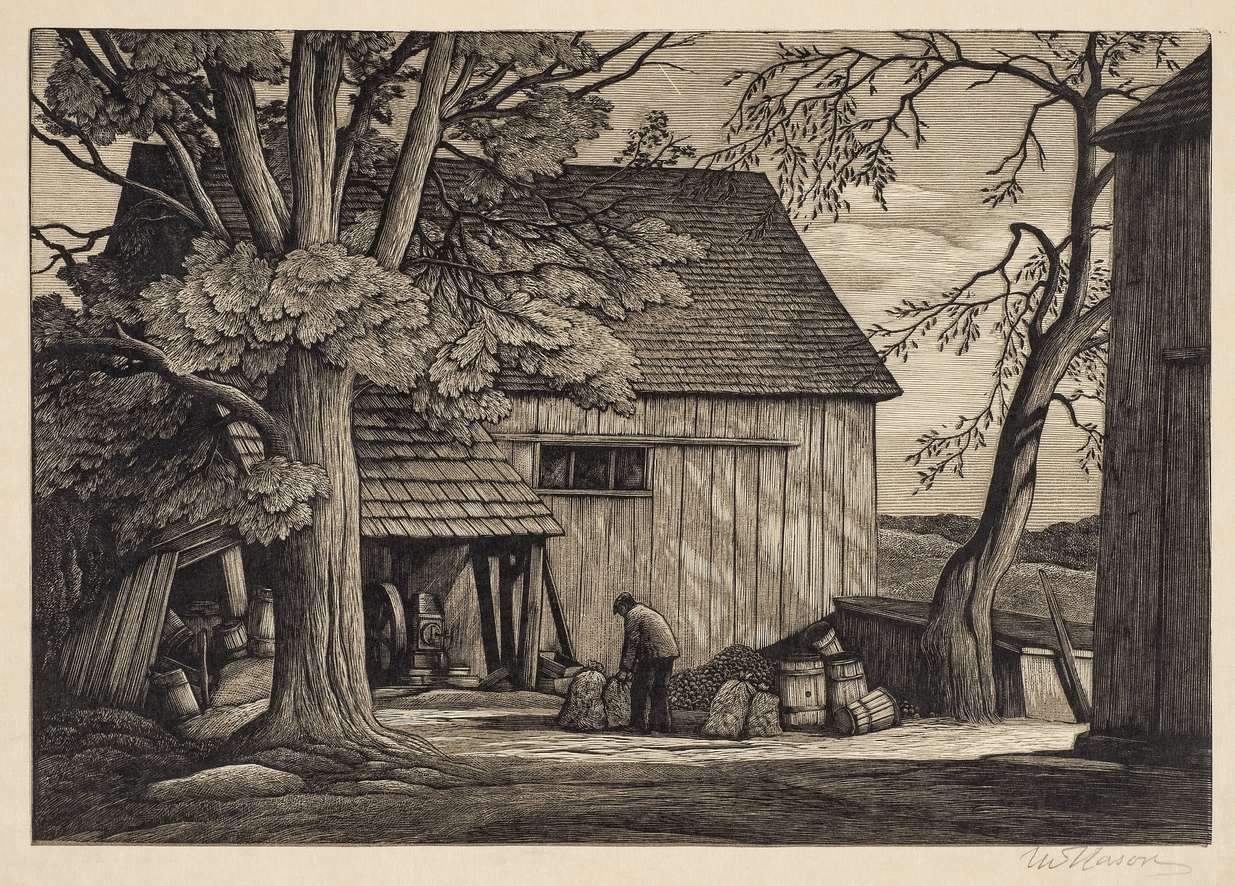 Thomas Nason,  The Cider Mill  (final state), 1944, Chiaroscuro wood engraving with olive, black, and gray blocks, 7 x 10 in. Florence Griswold Museum, Purchase