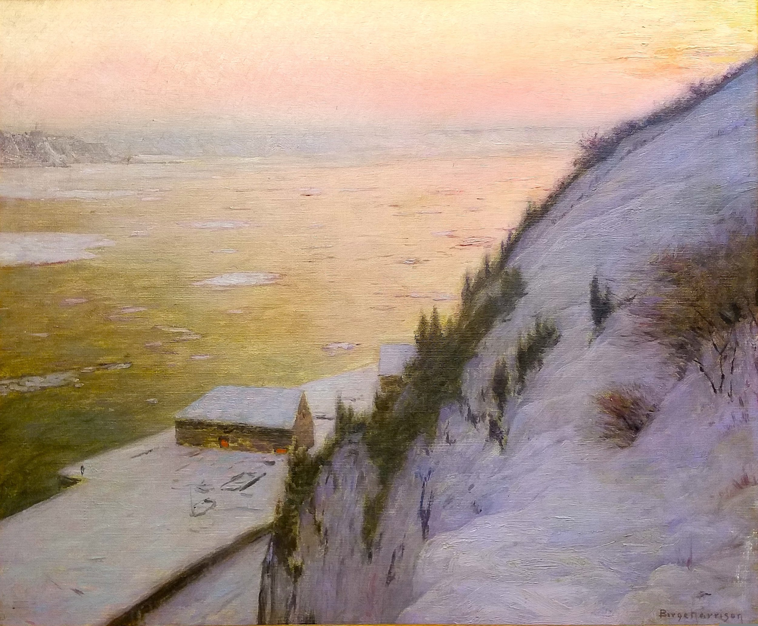 Birge Harrison,  St. Lawrence River Sunset,  no date, oil on canvas, 25 x 39 in. The Historic Woodstock Arts Colony: Arthur A. Anderson Collection. Photo Credit: Eric R. Lapp