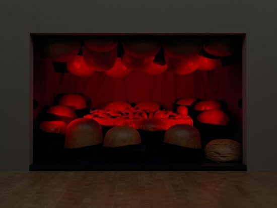 Louise Bourgeois,  Destruction of the Father , 1974. latex, plaster, wood, fabric, and red light, 93 ⅝ x 142 ⅝ x 97 ⅞ inches (238 x 362 x 249 cm), Photo: Ron Amstutz, Courtesy: Glenstone Museum. ©The Easton Foundation/VAGA at Artists Rights Society (ARS), NY