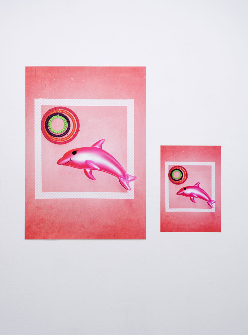 "New-Colombian Neo-concrete Abstraction in the Times of Global Post-conceptualism. In Honor of the Pink Dolphin of the Amazonas , 2017, digital matte print, 27"" x 39""; and Child, 2017, digital print on sticker, 13¾"" x 19½"""