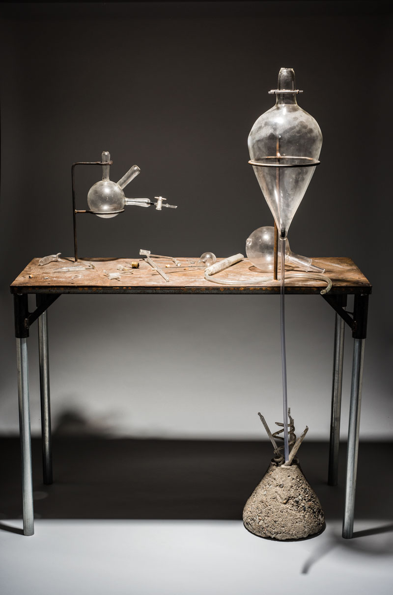 Elias Hansen, (born Indianola, Washington, 1979), This Is an Exact Replica of How I Remember, 2010, Steel table, hand-blown glass, found glass, and found objects, 36 x 48 x 20 inches, Tacoma Art Museum, Gift of Michael and Cathy Casteel, 2017.6.10