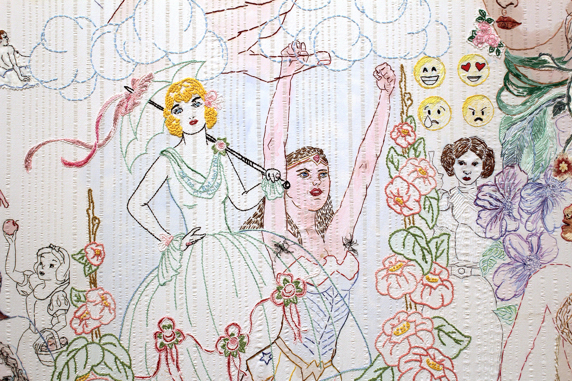 """POW"" (2018), hand-stitched embroidery, applique, and paint on vintage bed linen [detail] 84 x 72 inches"