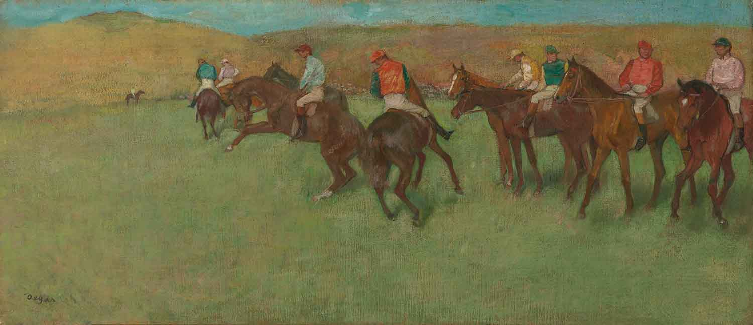 Edgar Degas (French, 1834–1917). At the Races: Before the Start, ca. 1885–92. Oil on canvas, 15 3/4 x 35 5/8 in. Virginia Museum of Fine Arts, Richmond, Collection of Mr. and Mrs. Paul Mellon, 85.496. Image © Virginia Museum of Fine Arts. Photo: Katherine Wetzel