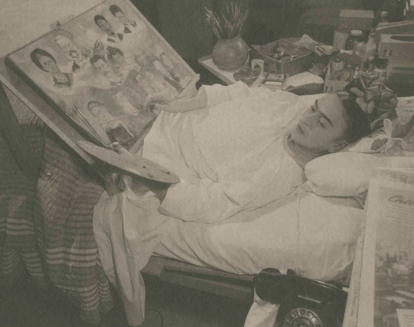 Juan Guzman, Mexican (Cologne, Germany, 1911 – 1982, Mexico City, Mexico),  Frida in Hospital, Painting,  circa 1930s, platinum print, printed by Ava Vargas, 3 ¾ x 4 ¾ inches. Courtesy of Throckmorton Fine Art, New York, New York.