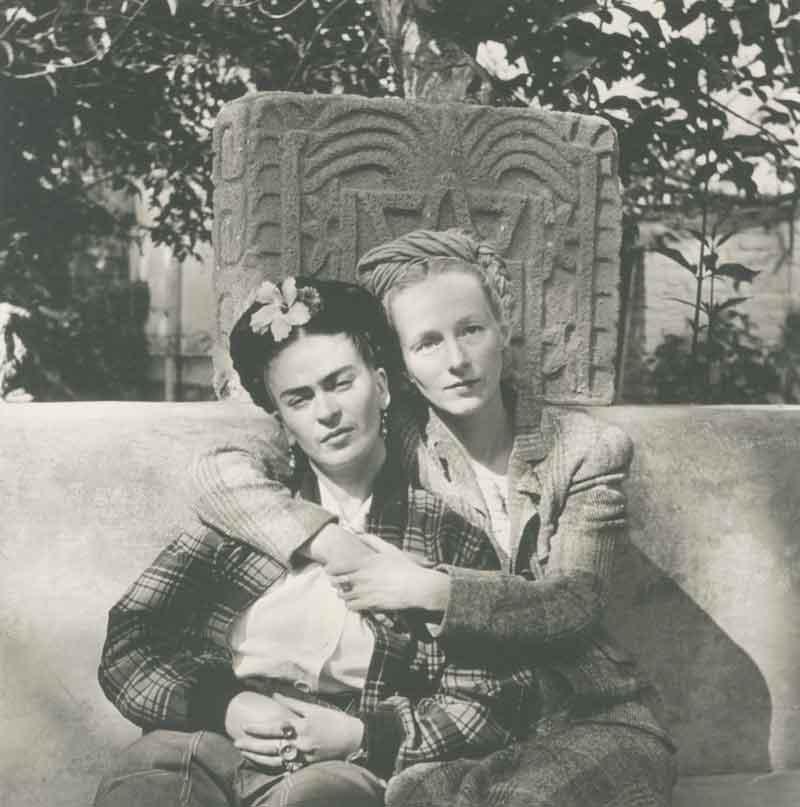 Diego Rivera, Mexican (Guanajuato, Mexico, 1886 - 1957, Mexico City, Mexico),  Frida Kahlo and Emmy Lou Packard, Coyoacán, Mexico , 1941, platinum print, 10 ½ x 10 ½ inches. Courtesy of Throckmorton Fine Art, New York, New York.