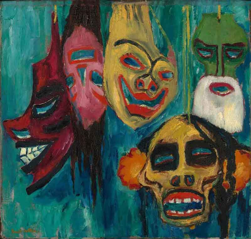 Emil Nolde, German (1867-1956). Masks, 1911. Oil on canvas, 28 3/4 x 30 1/2 inches. Gift of the Friends of Art, 54-90.