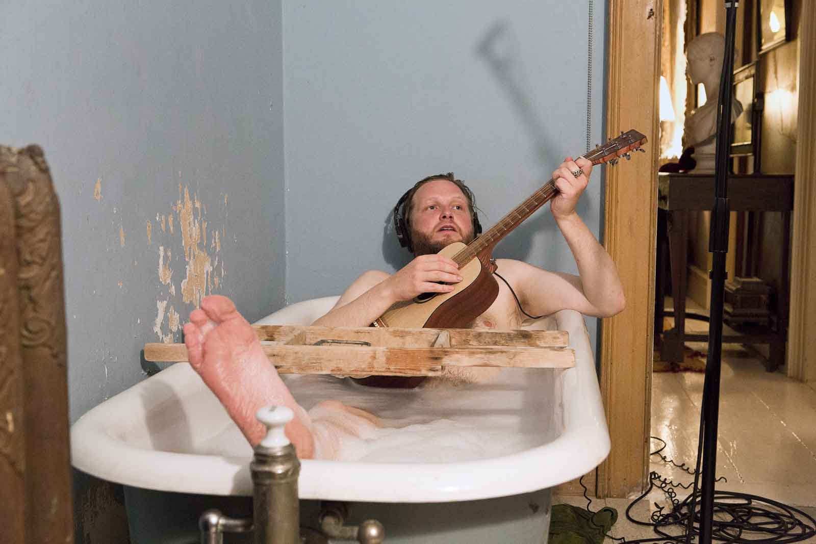 Ragnar Kjartansson,  The Visitors  (still), 2012. Nine-channel video projection (color, sound; 64:00 minutes). Gift of Graham and Ann Gund to the Institute of Contemporary Art, Boston, Solomon R. Guggenheim Museum, New York, and Gund Gallery at Kenyon College. Courtesy the artist, Luhring Augustine, New York, and i8 Gallery, Reykjavik. © Ragnar Kjartansson