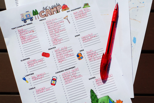 Campfire Travelers personalized gear packing checklist for camping