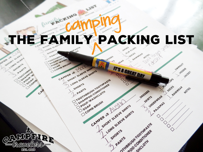 The Family Camping Packing List by Campfire Travelers