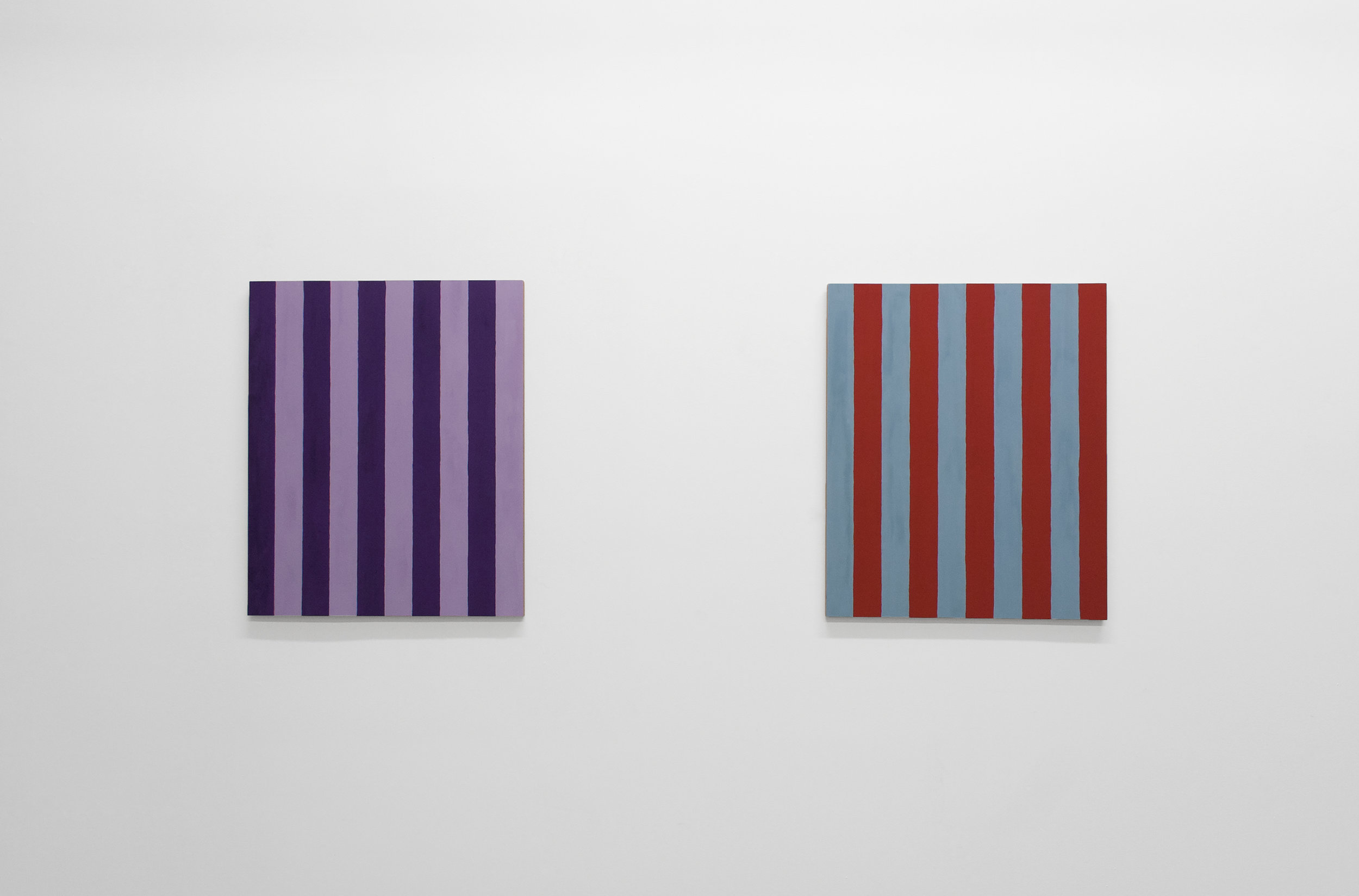 """LEFT TO RIGHT:   Untitled (Two Inch Stripes #7), 1986 , 2016, casein on mahogany, 24"""" x 20""""   Untitled (Two Inch Stripes) #12, 1986 , 2016, casein on mahogany, 24"""" x 20"""""""