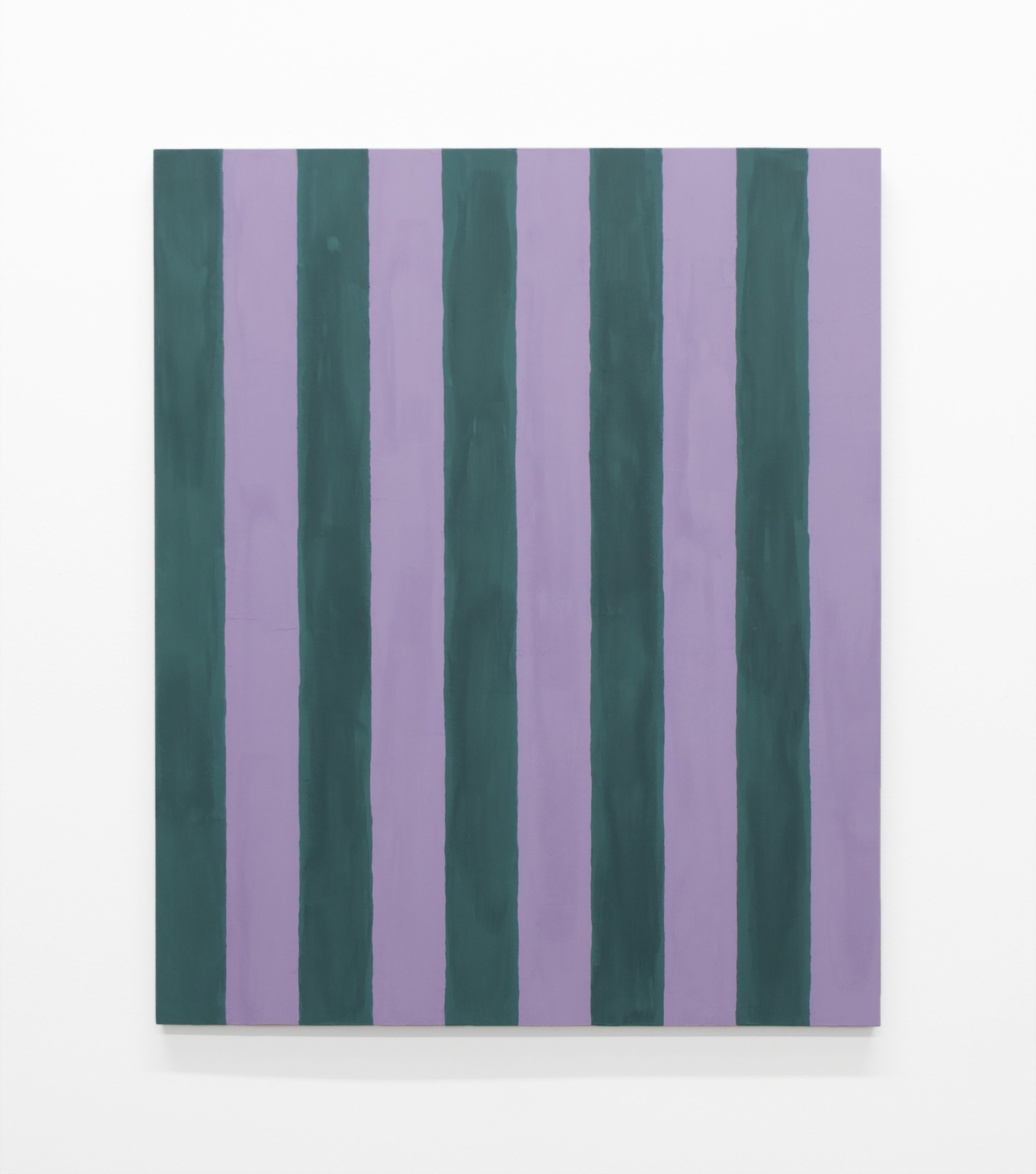 """Untitled (Two Inch Stripes), 1986 , 2016, casein on mahogany, 24"""" x 20"""""""