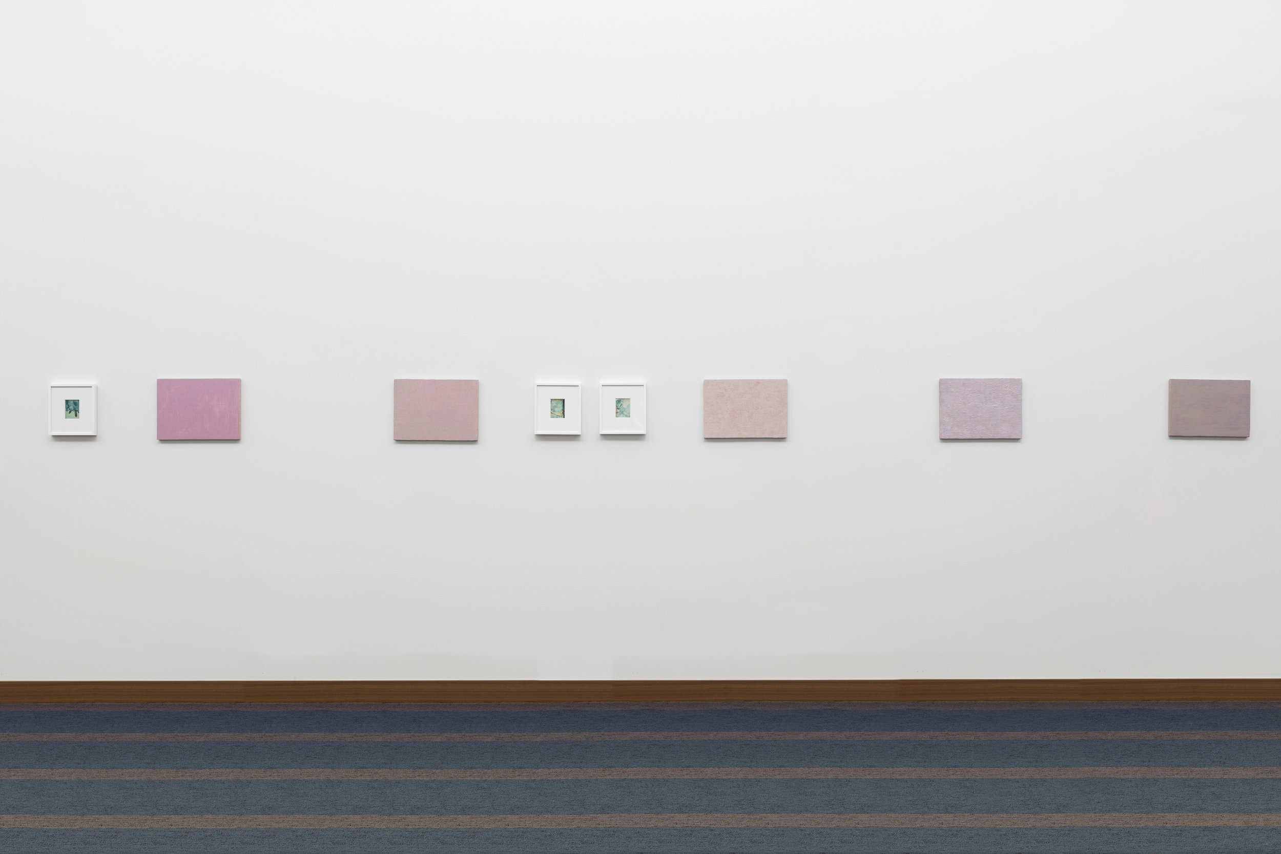 Installation view of Matt Morris paintings + Andy Warhol polaroids, 2017  Three One on Ones , curated by Magalie Guérin McAninch Arts Center, Glen Ellyn, IL