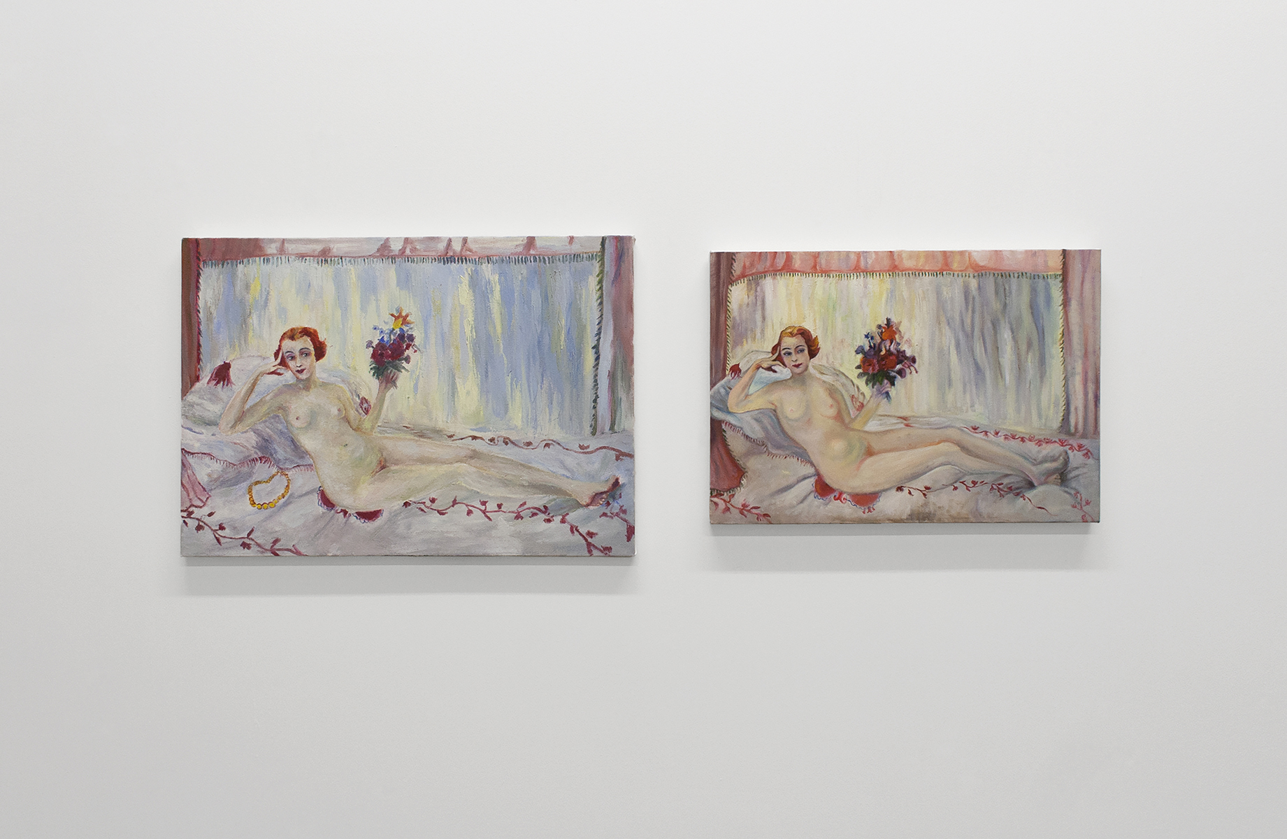 Sisters , 2016–ongoing Oil, acrylic, and mixed media on canvas and panel Selection of paintings of paintings by Florine Stettheimer