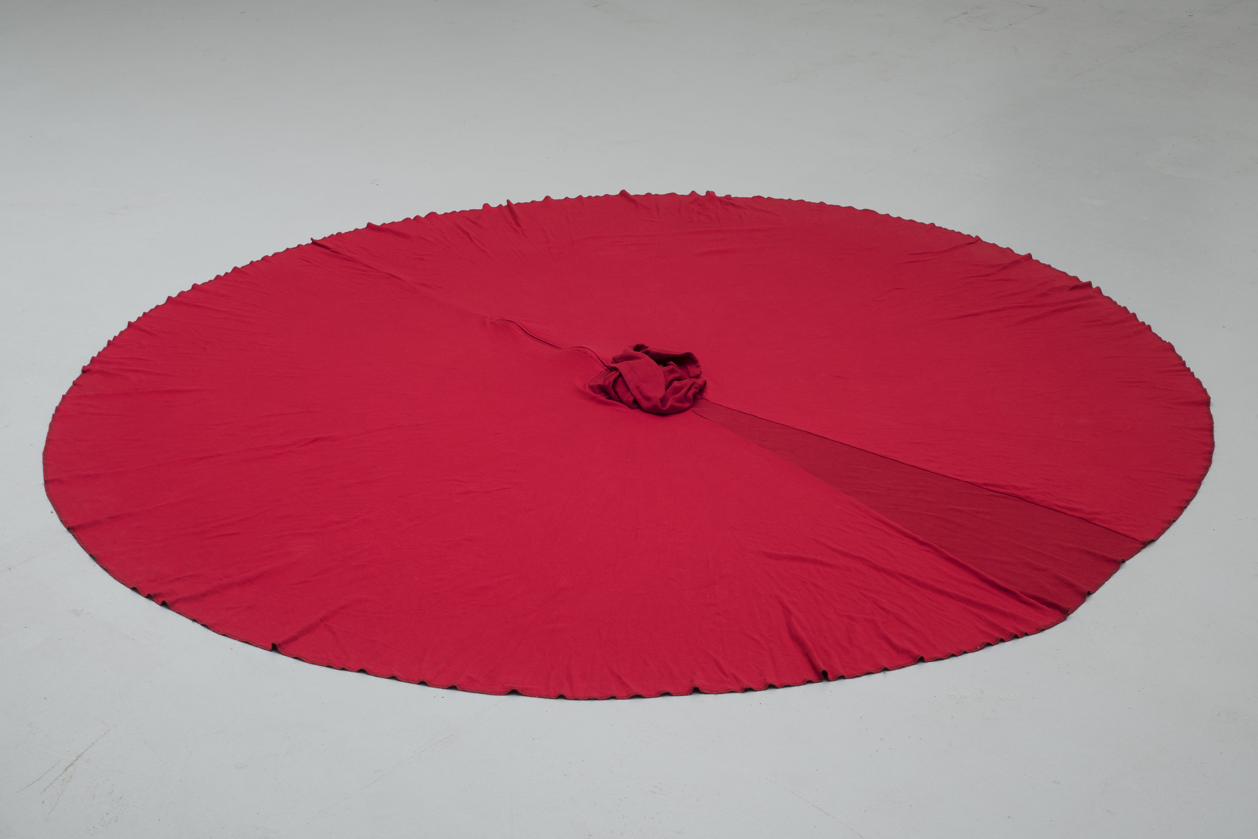 """The Sorceress , 2015 Red dress sewn by the artist's twin, Michael J. Morris, as costuming for a dance entitled  Shades of the Edged Existence  which Michael choreographed and presented in 2007, 94"""" in diameter"""