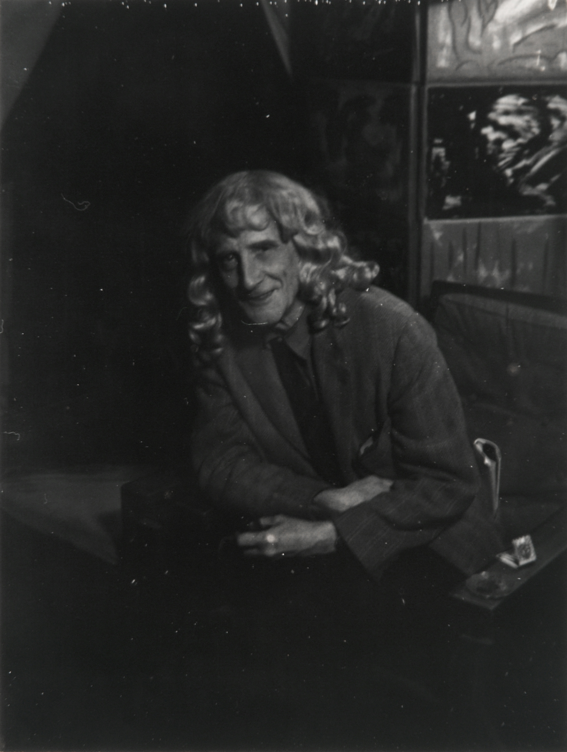 """matt james , 2013 On April 8, 2013, the artist and James Geier became friends. James lent the photograph Man Ray made with Marcel Duchamp, to the artist.   Man Ray  Polaroid Photograph of Marcel Duchamp in Blond Wig , c. 1950s 15.5"""" x 12.75"""" framed. 3.5"""" x 2.5"""" unframed. Collection Mr. and Mrs. James Geier, Chicago, IL"""
